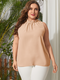 Solid Color Sleeveless Ruffle Collar Plus Size Tank Top - Beige