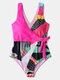 Women Abstract Print Wrap Tie Side Wide Straps One Piece Slimming Swimsuit - Rose