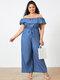 Casual Off Shoulder Short Sleeve Wide Leg Plus Size Jumpsuit with Pockets - Light Blue