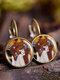 Vintage Glass Gemstone Dangle Earrings Famous Portrait Oil Painting Pendant Earrings - #06