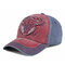 Outdoor Embroidery Personalized Edging Washed Denim Baseball Cap Sunshade Hat - Wine Red