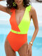 Women Contrast Color Patchwork Ruffles Trim Belted One Piece Swimwear - Yellow