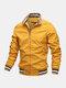 Mens Sport Outdoor Loose Zipper Up Stand Collar Solid Lightweight Jacket - Yellow