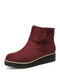 Women Suede Bow knot Decor Zipper Wedges Heel Ankle Boots - Red