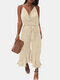 Solid Color Ruffle Knotted Strap Sleeveless V-Neck Loose Casual Jumpsuit - Beige