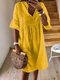 Bohemian Lace Hollow Out A-line Plus Size Casual Dress - Yellow