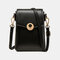 Women Casual Hollow Out Patchwork 6.3'' Inch Phone Bag Crossbody Bag - Black