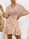 Summer Holiday Knotted V-neck Floral Print Bohemian Dress for Wowen - Orange