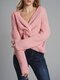 Solid Color Cross Wrap Long Sleeve Casual Sweater For Women - Pink