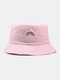 Women & Men Rainbow Embroidery Pattern Casual Outdoor Visor Bucket Hat - Pink