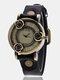 Vintage Thin Band Women Wrist Watch Three Roses Hollow Dial Quartz Watch - Black