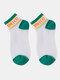 جوارب نسائية من القطن والحرير والزجاج بلون مغاير اللون - أخضر