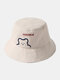 Unisex Cotton Bear Letter Pattern Embroidery Solid Color Cute Bucket Hat - Beige