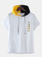 Mens Number Printed Color Hooded Short Sleeve T-shirt - White