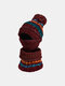 Women 3PCS Striped Plus Velvet Thick Warm Winter Suits Neck Face Protection Knitted Hat Scarf Mask - Wine Red