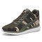 Comfy Mesh Lace Up Front Camouflage Hidden Heel High Top Sneakers - Green