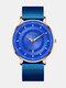 Alloy Business Casual Mesh Belt Calendar Watch Mens Luminous Quartz Watch - Blue Rose Shell Blue Mesh Belt R
