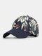 Women Cotton Beach Style Floral Pattern Outdoor Travel Sport Sunshade Baseball Hat - Navy