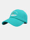 Unisex Polyester Cotton Solid Color Letter Fish Embroidery Simple Sunshade Baseball Cap - Blue