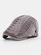 Men Cotton Embroidery Cap Outdoor Leisure Wild Forward Hat Flat Cap - Gray