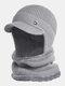 男性2PCSPlusベルベット厚い冬の屋外耳首保護ヘッドギアスカーフニット帽ビーニー - グレー