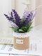 1 pieza de lavanda en maceta Flores artificiales de lino Bolsa Bonsai decoración de jardín de oficina en casa Artificial verde deja Planta decoración - Amarillo