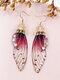 Vintage S925 Sterling Silver Butterfly Long Cicada Wings Gradient Earrings - 18