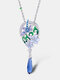 Zircon Enamel Women Jewelry Set Epoxy Flower Dragonfly Pendant Engagement Earrings Necklace Ring - #02