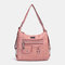 Women Multi-carry Waterproof Hardware Anti-theft Crossbody Bag Shoulder Bag Backpack - Pink