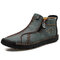 Men Vintage Hand Stitching Microfiber Leather Side Zipper Ankle Boots - Green