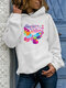 Butterfly Letter Print Long Sleeve Casual Hoodie For Women - White