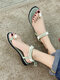 Women Casual Pearl Inlay Decoration Bow Lace Up Antiskid Fingered Sandals - Light Green