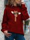 Giraffe Print Casual Hoodie With Pocket For Women - Wine Red