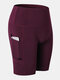 Women Quick Dry Breathable Elastic Skinny Fit Yoga Sports High Waist Shorts With Side Pocket - Wine Red