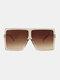 Women Oversized PC Full Square Frame UV Protection Fashion Sunglasses - Brown