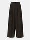 Solid Color Pocket Pleated Long Casual Pants for Women - Black