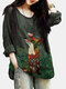 Animal Printed Button O-Neck Long Sleeve Casual Blouse - Green