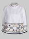 Floral Embroidery Button Stand Collar 3/4 Sleeve Tribal Blouse - White
