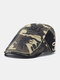 Men Cotton Patchwork Letter Pattern Embroidery M Cloth Label Casual Camouflage Berets - #01