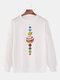 Mens Cartoon Planet Print Plain Daily Loose Lounge Pullover Sweatshirts - White