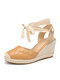Women Closed Toe Comfy Wearable Lace Up Espadrille Wedges Sandals - Brown