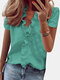 Stringy Selvedge Solid Color Print Short Sleeve Blouse - #02
