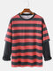 Mens Horizontal Stripes Cotton Patchwork Doctor Sleeves Casual Crew Neck Sweatshirts - Red