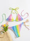 Women Smocked Rainbow Ombre String Halter Micro Bikinis Swimsuit With Thong - Multi Color