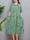 Floral Print Pocket V-neck Short Sleeve Loose Vintage Dress - Green