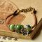 Ethnic Hand-woven Ceramic Beads Bracelet Geometric Metal Flower Ceramic Beads Pendant Bracelet - Green