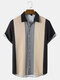 Mens Color Block Button Up Ethnic Style Short Sleeve Casual Shirt - Black
