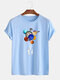 Mens Cotton Astronaut Colorful Planet Print O-Neck Casual Short Sleeve T-Shirts - Blue