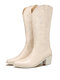 Plus Size Retro Women Pattern PU Western Embroidered Chunky Heel Mid-calf Cowboy Boots - White