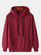 Mens Basic Style Solid Color Drawstring Relaxed Fit Casual Loose Hoodie - Wine Red